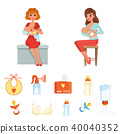Set of colorful items related to breastfeeding theme. Two young mothers feeding their newborn babies 40040352