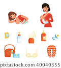 Two young moms and items related to breastfeeding theme. Women feeding their newborn babies. Mother 40040355