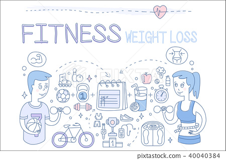 Vector set of doodle icons related to fitness theme and active lifestyle. Weight loss. People 40040384