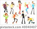 Men and women singing karaoke with microphones set, karaoke singers vector Illustrations on a white 40040407