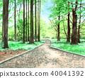 수채화로 그린 신주쿠 교엔의 숲 40041392