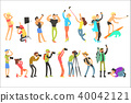 Flat vector set of people taking pictures. Selfie and professional photographs. Photographers with 40042121