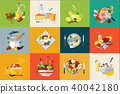 Flat vector set of dishes and beverages. Fresh vegetables and fruits. Healthy food. Jar of honey 40042180