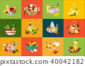 Flat vector compositions with food and drinks. Healthy eating. Delicious breakfast. Fresh vegetables 40042182