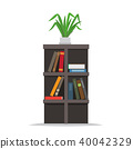 Bookcase with Books and Flowerpot on Top Vector 40042329