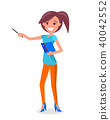 Smiling Woman Guide with Pointer and Notebook 40042552
