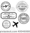 Postmarks and travel stamps, plane symbol 40046068