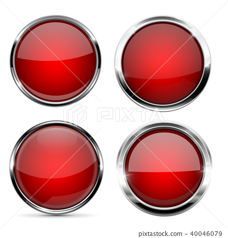 Glass red buttons. Round 3d icons with metal frame and reflection 40046079