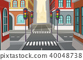 Vector city crossroads with traffic lights, intersection 40048738