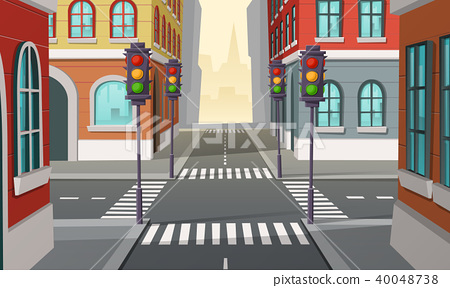 Vector city crossroads with traffic lights, intersection