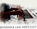 Women playing piano keyboard watercolor painting. 40053337