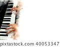 Women playing piano keyboard watercolor painting. 40053347
