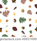Tropical leaves and nut seamless pattern. 40057499
