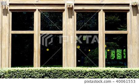 wooden window architecture with green bush plant 40061553