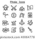 Pirate icon set in thin line style 40064778