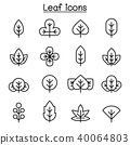 Leaf icon set in thin line style 40064803