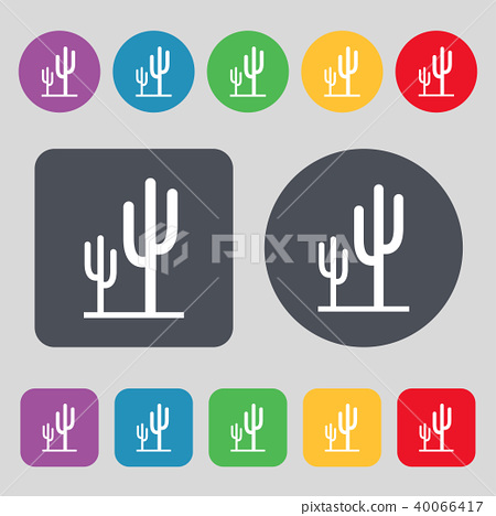 Cactus icon sign. A set of 12 colored buttons. Fla 40066417