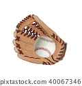 baseball inside glove isolated on white background 40067346