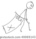 Cartoon of Sad Businessman Trailing Big Paper Sheet With Rejected Idea 40069143