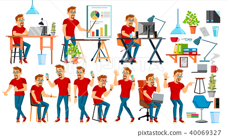 Business Man Character Vector. Working People Set. Office, Creative Studio. Bearded. Worker. Full 40069327