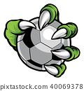 Monster animal claw holding Soccer Football Ball 40069378