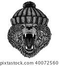 Cool bear wearing knitted winter hat. Warm headdress beanie Christmas cap for tattoo, t-shirt 40072560