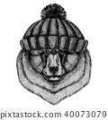 Black bear Cool animal wearing knitted winter hat. Warm headdress beanie Christmas cap for tattoo, t 40073079