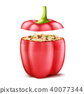 Vector stuffed bell pepper with rice and mince 40077344