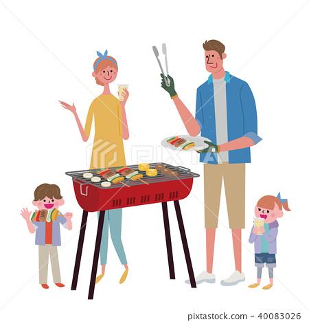 烤肉例證家庭 40083026