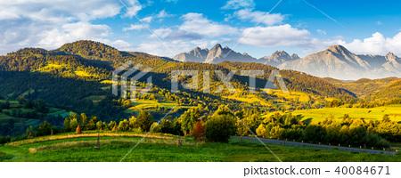 mountainous panorama of countryside at sunrise 40084671