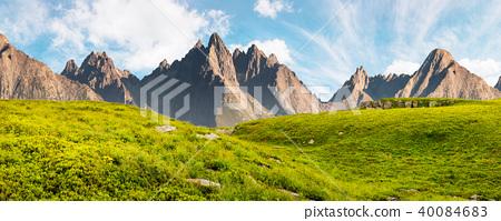 huge stones in valley on top of mountain range 40084683