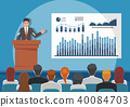 Businessmen giving presenting charts on whiteboard 40084703