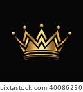 Golden crown Logo abstract design vector. 40086250