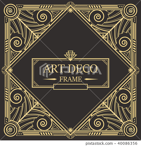 Art Deco Border frame vector 08 40086356