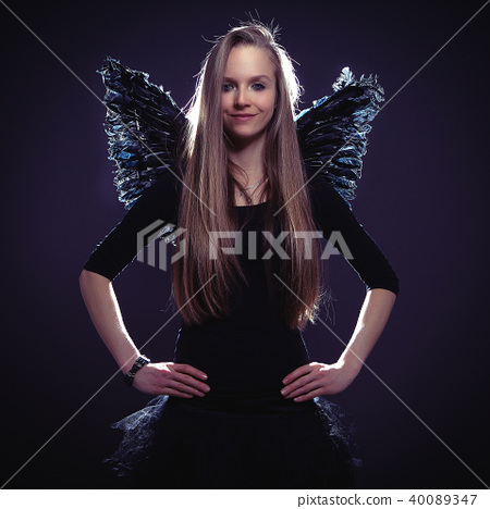 cute girl in dark angel costume 40089347