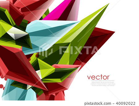 Color glass crystals on white background, geometric abstract composition with glass gemstones and 40092022