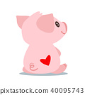 back, pig, vector 40095743