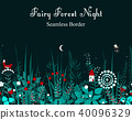 Vector seamless border with forest plants 40096329