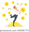 businessman jumping with happiness 40096774