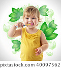 child brushing teeth isolated on white  40097562