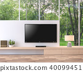 Empty television screen with nature view 3d render 40099451