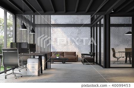 Industrial loft style office 3d render 40099453