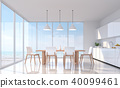 Modern white dining room with sea view 3d render 40099461