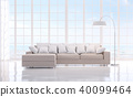 Modern white livng room with sea view 3d render 40099464