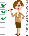 checklist, cheque, businesswoman 40102422
