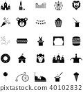 amusement park icon set 40102832