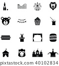amusement park icon set 40102834