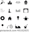 amusement park icon set 40102835