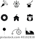 amusement park icon set 40102838