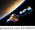 Reflection Of Earth In Deployed Solar Panels Of A Space Satellite 40106979